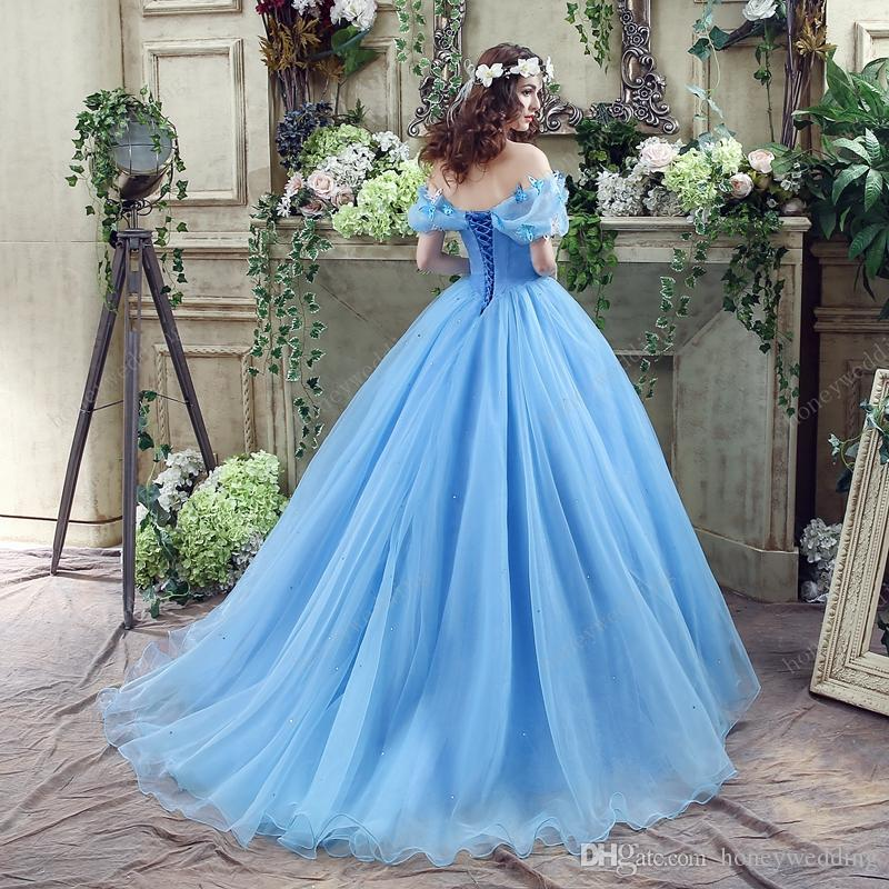 Perfect Cinderella Quinceanera Dresses Blue Off Shoulder Organza Debutante Sweet 16 Girls Masquerade Ball Gowns For Teens With Butterfly