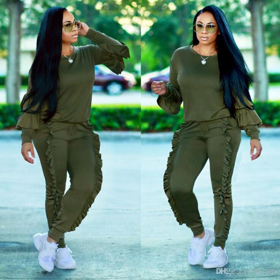 Hoodies moletom calça conjuntos Calças de borda corrugada Calças casuais jogging gym esporte terno cordão plissado lápis pant ooa3682