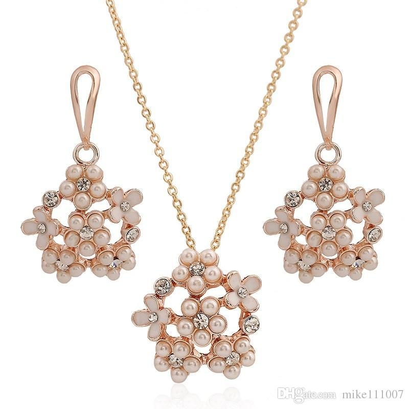 Rose Gold Plated Pearl Jewelry Set Set Necklace Earring Korean