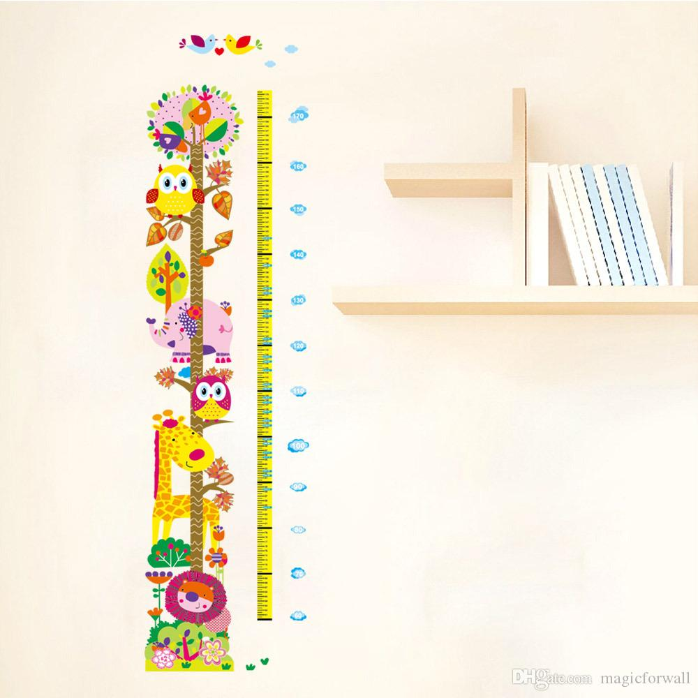 New Cute and Friendly Animals Height Growth Chart Decal Stickers-Forest Zoo Cartoon Owls Lion Giraffe Height Measurement Height Wallpaper