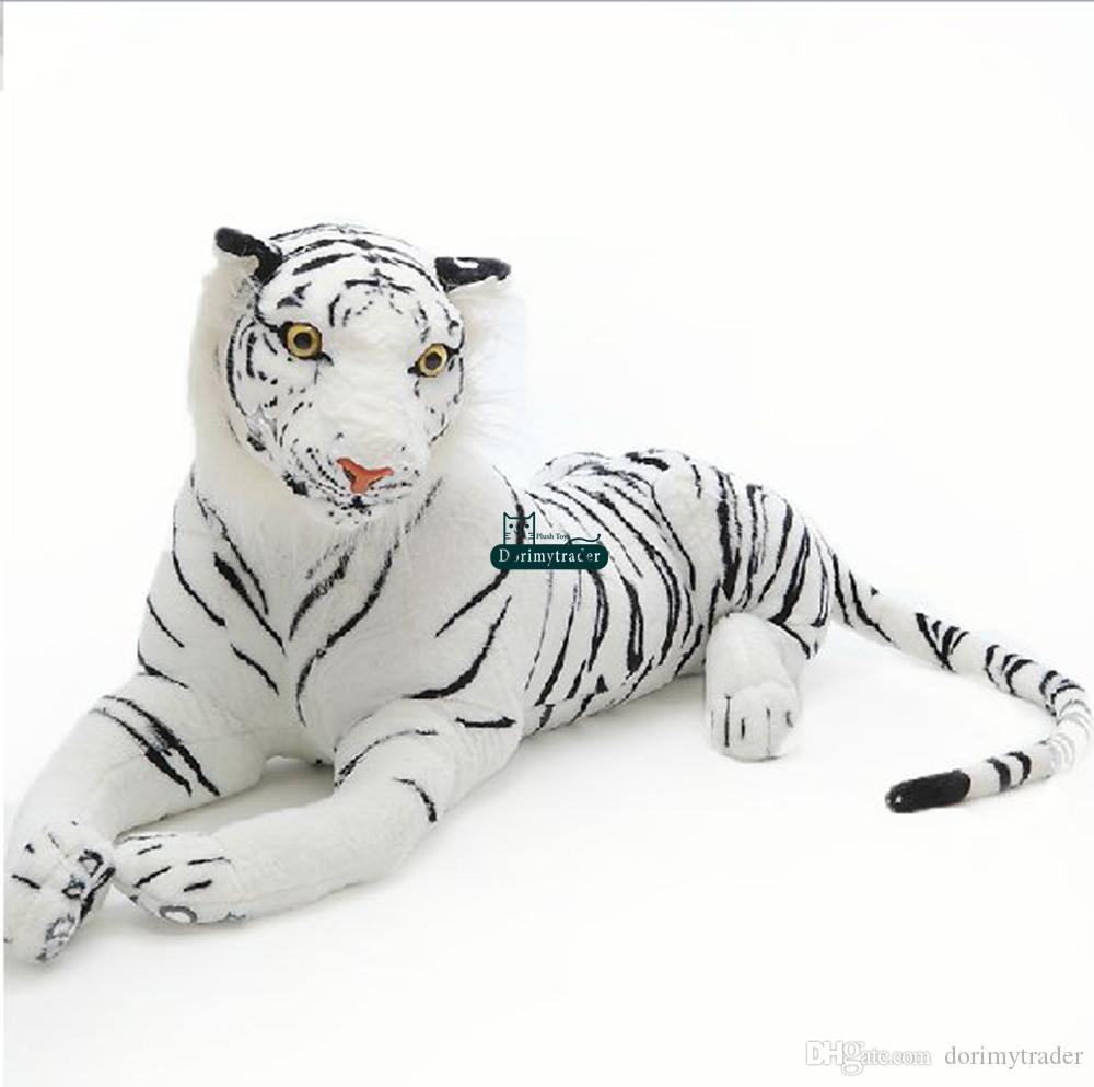 Dorimytrader Domineering Simulation Animal White Tiger Plush Toy Giant Stuffed Animals Tiger Doll Toys for Children Gift Deco 51inch 130cm