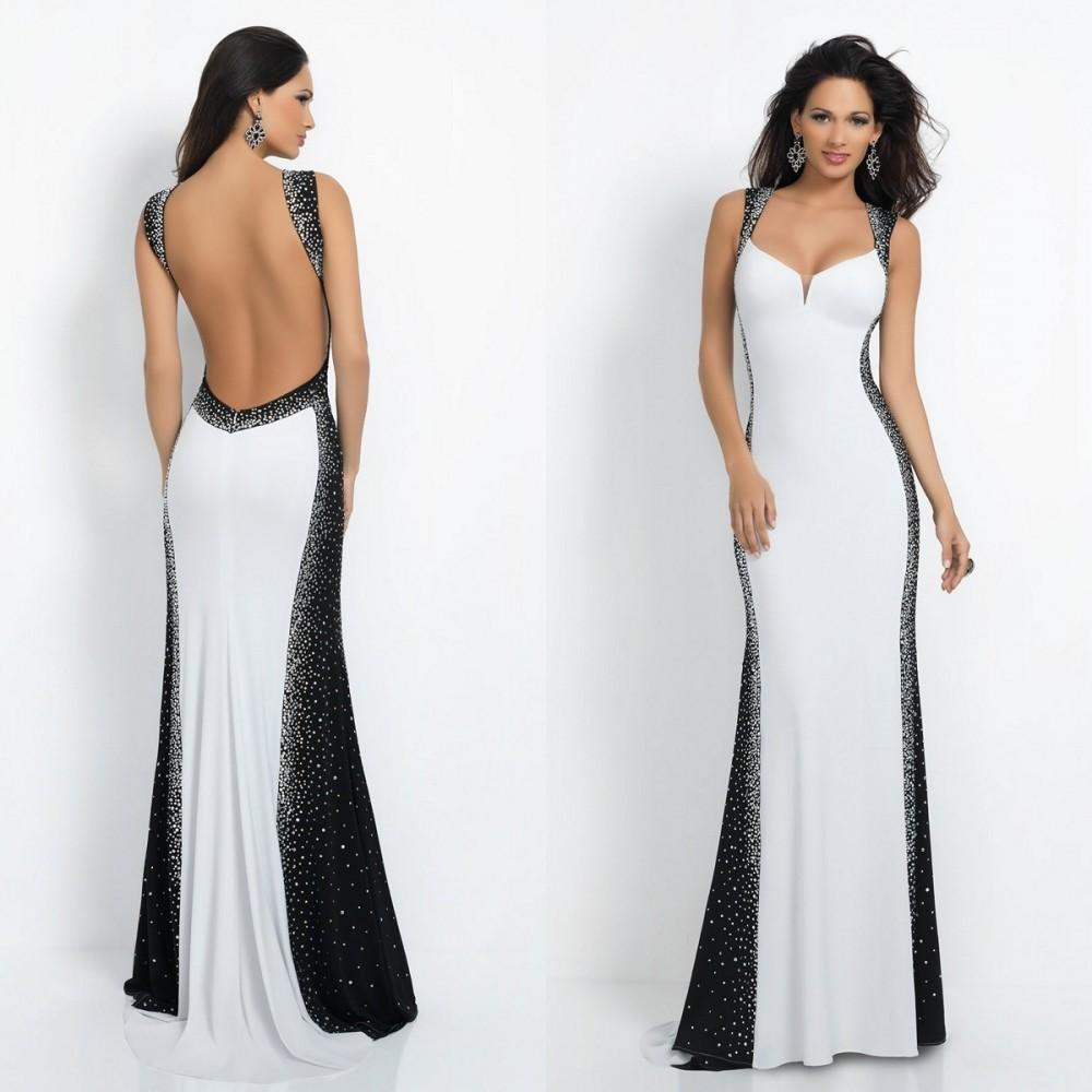 Black and White Backless Prom Dresses