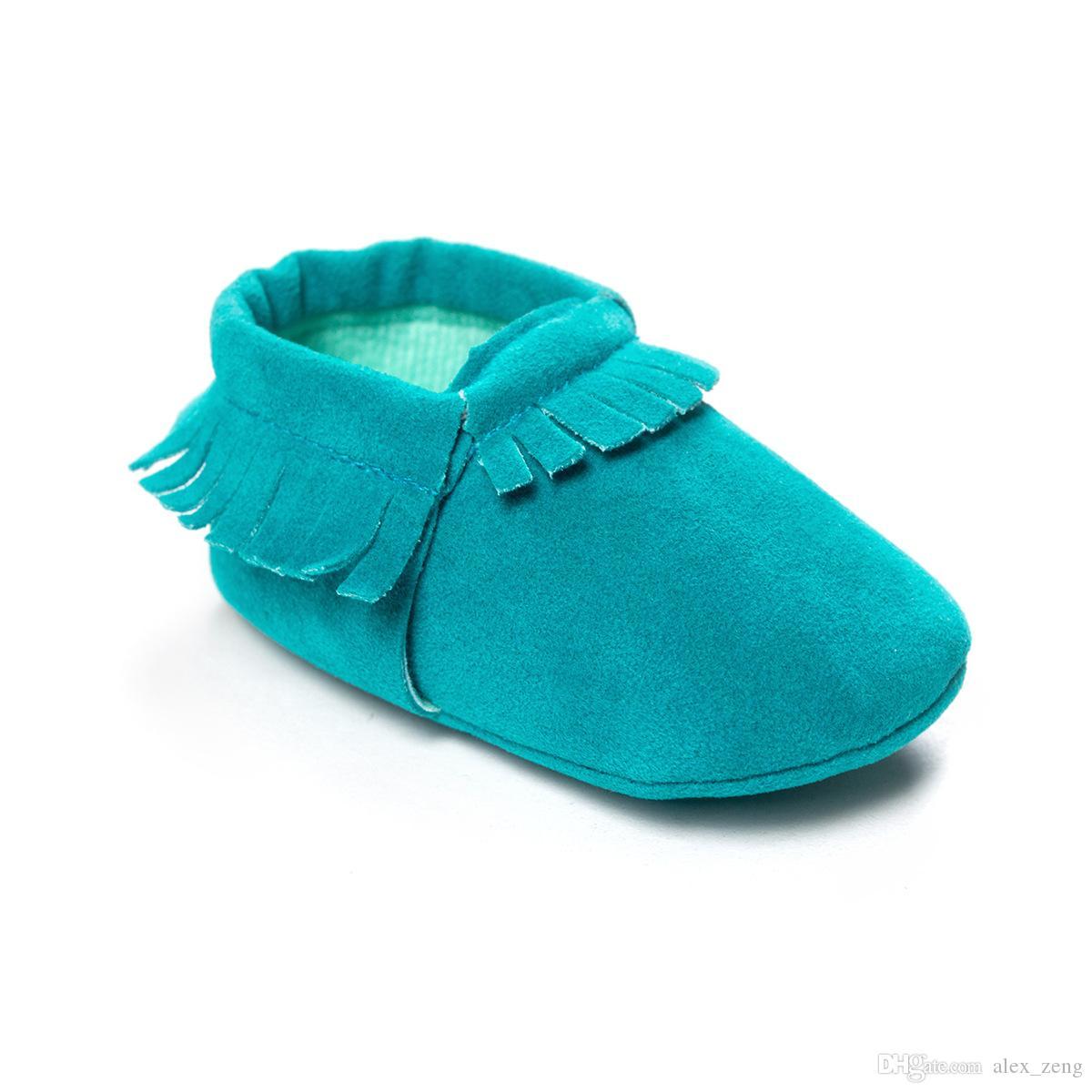 15 لون الطفل الأخفاف لينة وحيد جلد طبيعي الأولى ووكر حذاء طفل الوليد ماتي الملمس الأحذية شرابات maccasions الأحذية