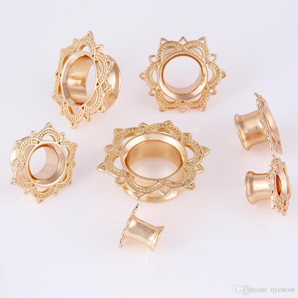 Tapones y túneles Calibradores Tribal Flor de loto Doble llamarada Oro Cobre Expansor de oídos Joyería corporal