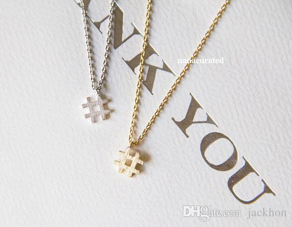 10шт - N128 хэштегом ожерелье простой начальный знак ожерелье модный символ # ожерелья типографика письмо музыка Примечание Ожерелье для женщин Дамы