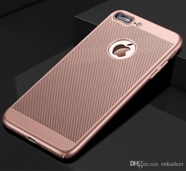 Mesh Phone Case For Iphone X 8 6 6S 7 Plus Case Luxury Hard Mesh Breathable PC Protective Cover For Samsung