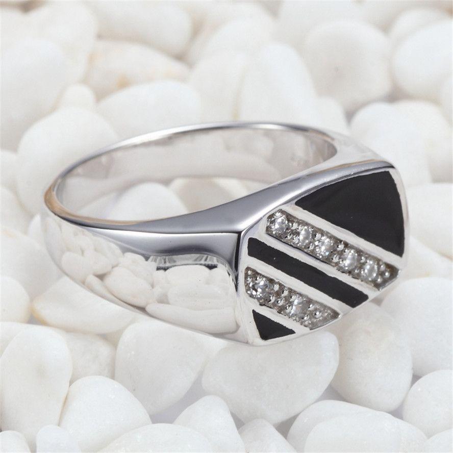 925er Sterlingsilber Vintage Rings Black Resin und weiße Zirkonia Rave Rezensionen Edle Generous S - 3777 sz # 8 9 10 11 Favorit Shinning