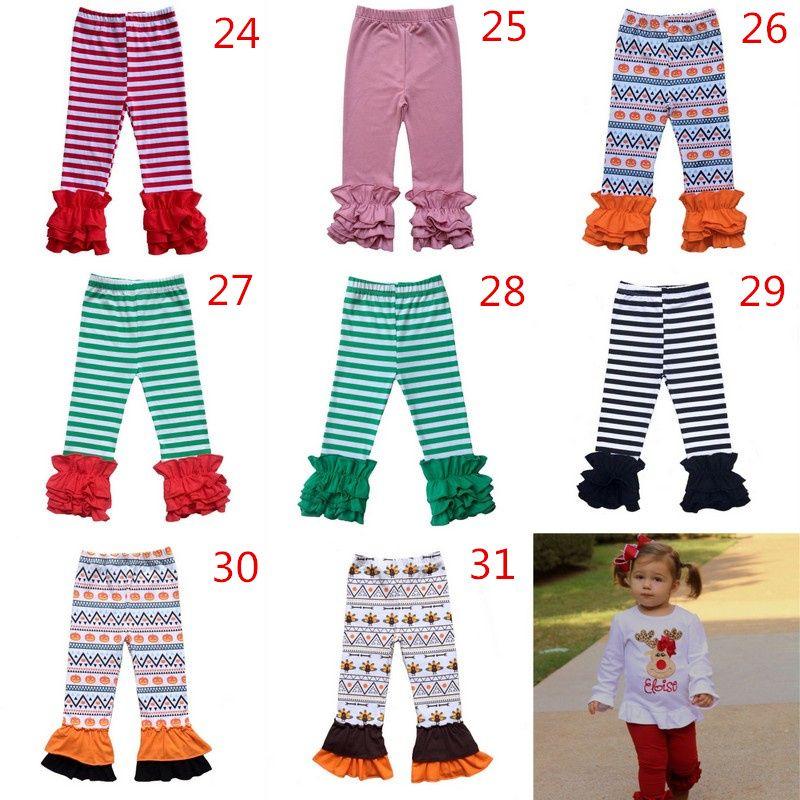 Thanksgiving Halloween Christmas Solid Printed Ruffle Pants Stripe Leggings Baby Hirls Long Pants Warm Trousers