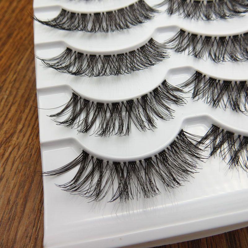 5 Çift / kutu Şeffaf Yanlış Kirpik Dağınık Çapraz Kalın Doğal Sahte Göz Lashes Profesyonel Makyaj İpuçları Bigeye Uzun Yanlış Göz Lashesl
