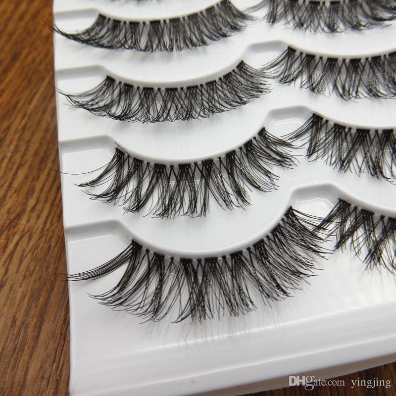 5 paia / scatola ciglia finte trasparenti disordinate trasversali naturali spesse ciglia finte ciglia trucco professionale punte bigeye lungo falso eye lashesl