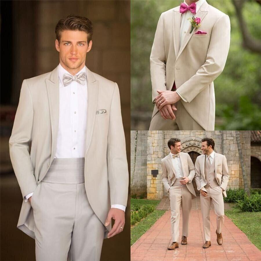 Champagne Groom Tailcoats Beach Weddings Bridegroom Best Man Suits Peaked Lapel One Button Classic Fit Wears High Quality Jacket Pants Bow All White Suit