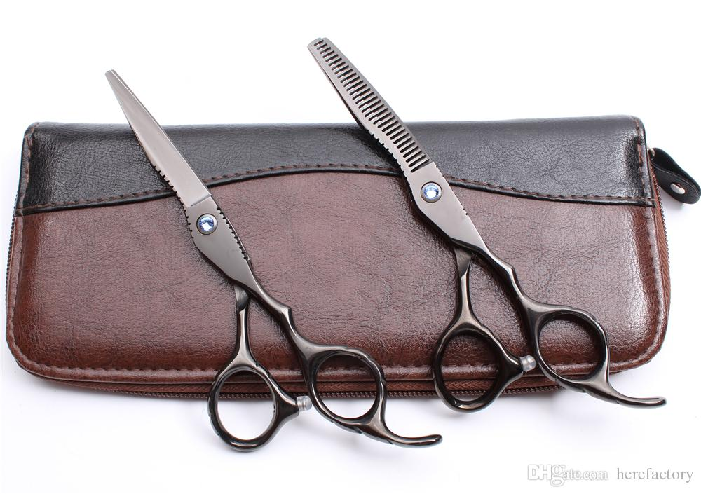 "C1011 6"" Japan 440C Customized Logo Black Professional Human Hair Scissors Barbers' Hairdressing Scissors Cutting Thinning Shears Style Tool"