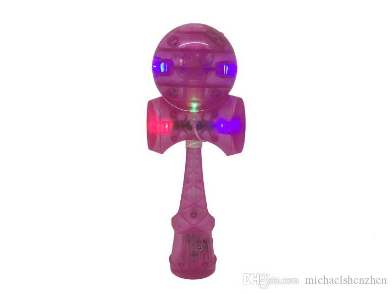 DHL Flash light Compétences Kendama Ball LED jouets 18cm Jeux Intelligence jouets nouvelles compétences épée balle jade épée en plastique kendama balle jouet B001