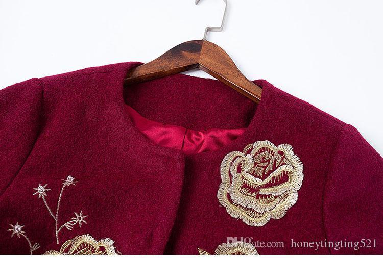 Novo outono inverno design europeu moda de luxo bordado flor três quartos manga longa trincheira casaco de lã plus size M-3XL