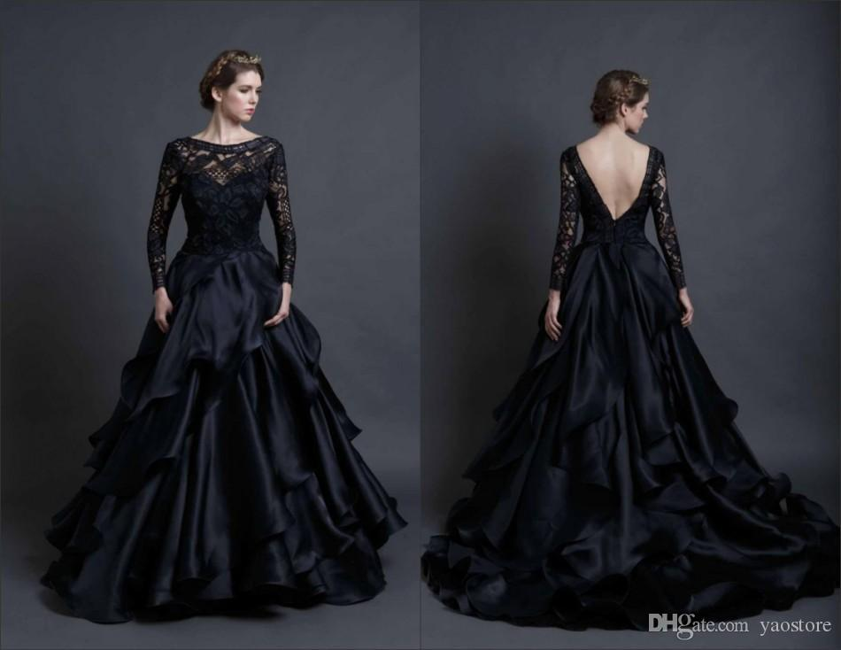 Discount Stunning Black Wedding Dress Long Sleeves