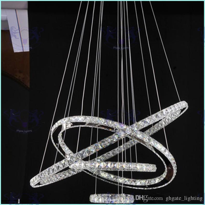 Lampadari a sospensione a LED moderni in cristallo Lampade a sospensione a soffitto con AC110-240V LED SMD Anello tondo con diamante