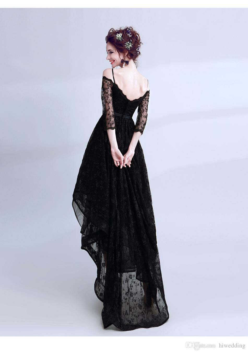 2017 Lace Black Sexy Evening Dresses Spaghetti A-line Hi-Lo Prom Dresses Cheap Vintage Formal Party Bridesmaid Gowns