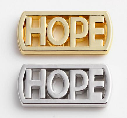High Quality Silver Gold Plated Letter HOPE Floating Window Plates Fit For Magnetic 30MM Glass Charms Locket