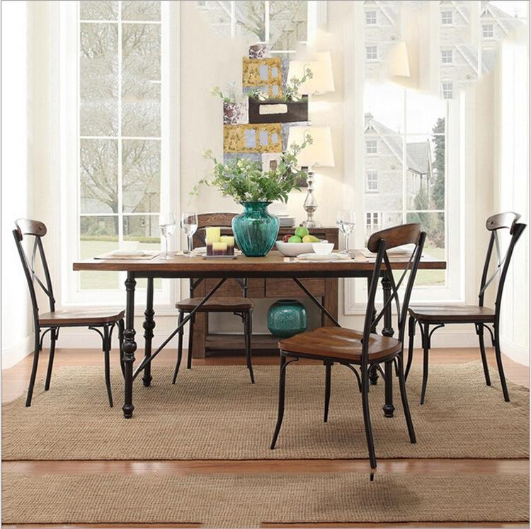 2018 Factory Direct American Vintage Wood Dining Tables And Chairs ...