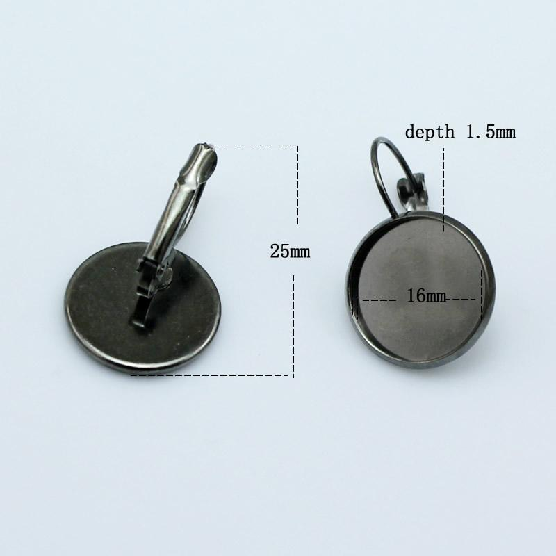 Beadsnice 귀걸이 기본 황동 레버 백 귀걸이 16mm 라운드 cabochon 설정 황동 palted 귀걸이 공백 도매 ID 5907