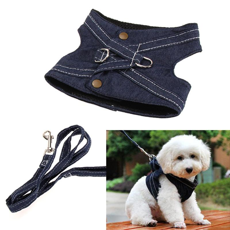 Dog Harness Vest Pet Puppy Vest Leash Walking Traction Rope Jeans Harness Leash For Small Dog Denim Pets Outdoors Accessories Matching In Colour Home & Garden