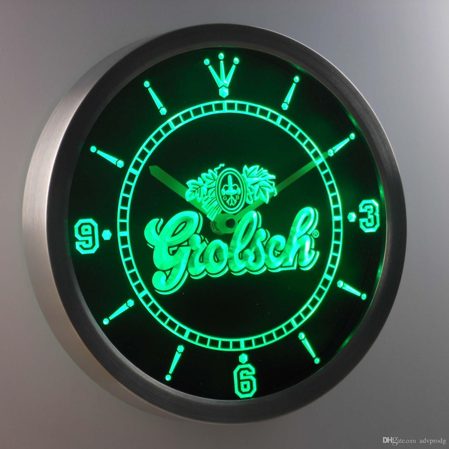 nc0002 grolsch luminova neon sign bar beer decor led wall clock