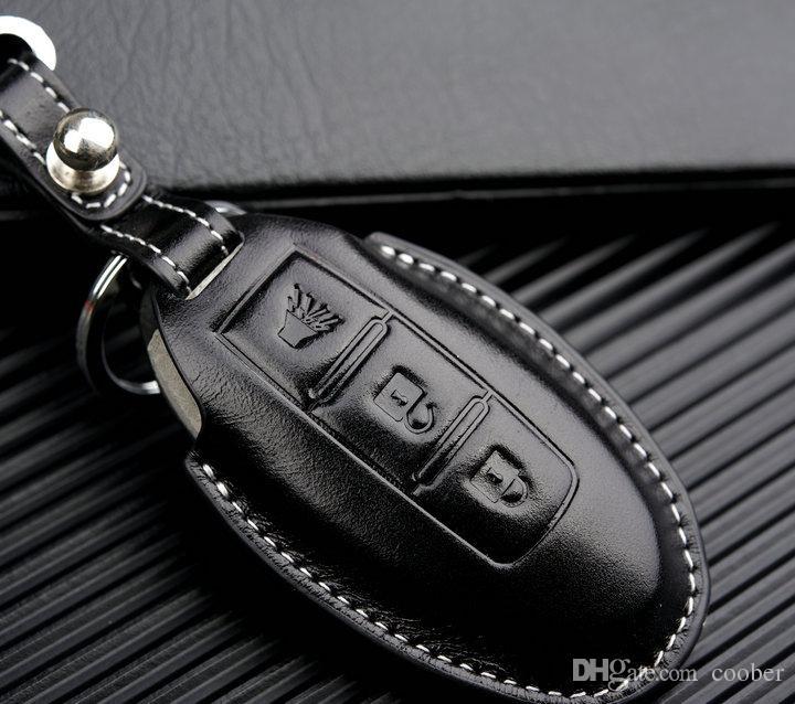 Tampa Da Chave Do Carro de couro para Infiniti Q50 Q70 Q60 M35 FX etc para Nissan Rogue X-Trail Altima Tiida Sylphy Qashqai Caso Titular Chave