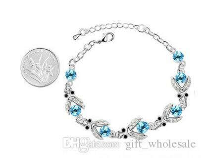 Swarovski Elements Austrian crystal charm bracelet Top quality silver rose gold plated fashion jewelry wedding gift