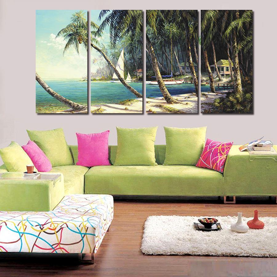 2016 New 4 Panels Oil Painting Modern Wall Painting Home Decorative Art Picture Paint On Canvas Oil Painting Seaside Beach