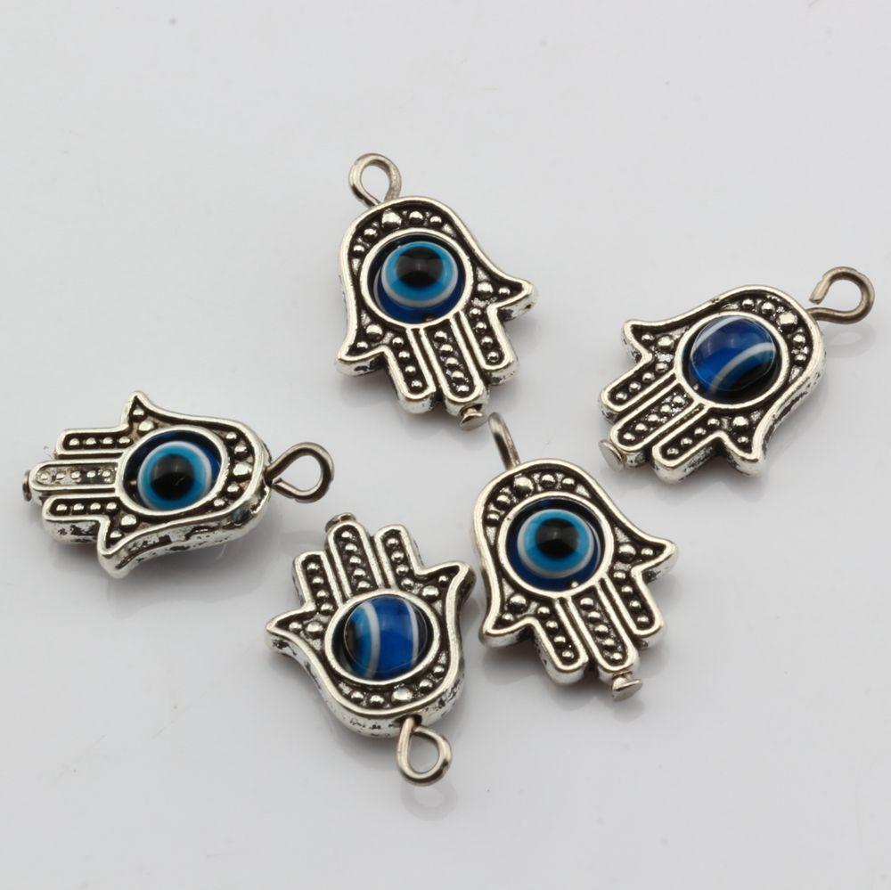 Hot ! Antique Silve Hamsa Hand EVIL EYE Kabbalah Good Luck Charm Pendant 13 x19 mm DIY Jewelry