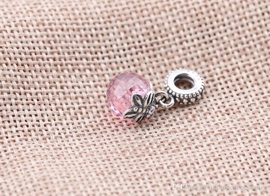 100% стерлингового серебра подвески 925 Эль болтался хрустальный шар бабочка подвески для Pandora браслеты DIY бусины аксессуары Бесплатная доставка