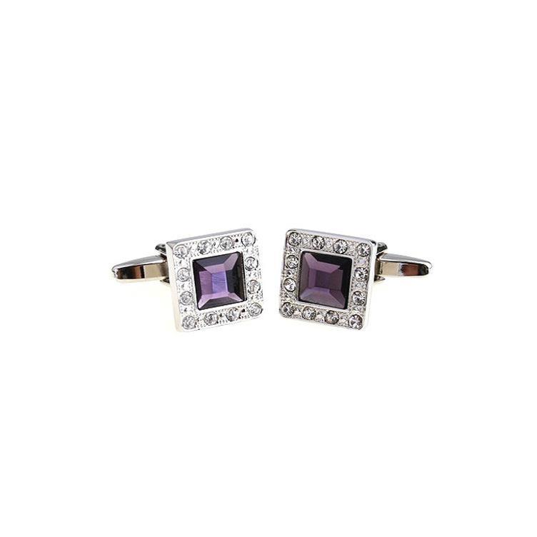 Kol Düğmeleri Marka Mor Kristal Kare Kol Düğmeleri Düğün Kol Düğmeleri Fransız Kol Düğmeleri erkekler Kol Düğmeleri Moda Takı Iyi Hediye Kol Düğmesi C015
