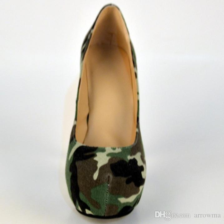 Camouflage Womens Pumps 2016 Cheap Modest Custom Made Ladies Sandals Sexy High Thin Heels Slip On Fashion Parry Shoes Plus Size Shoes