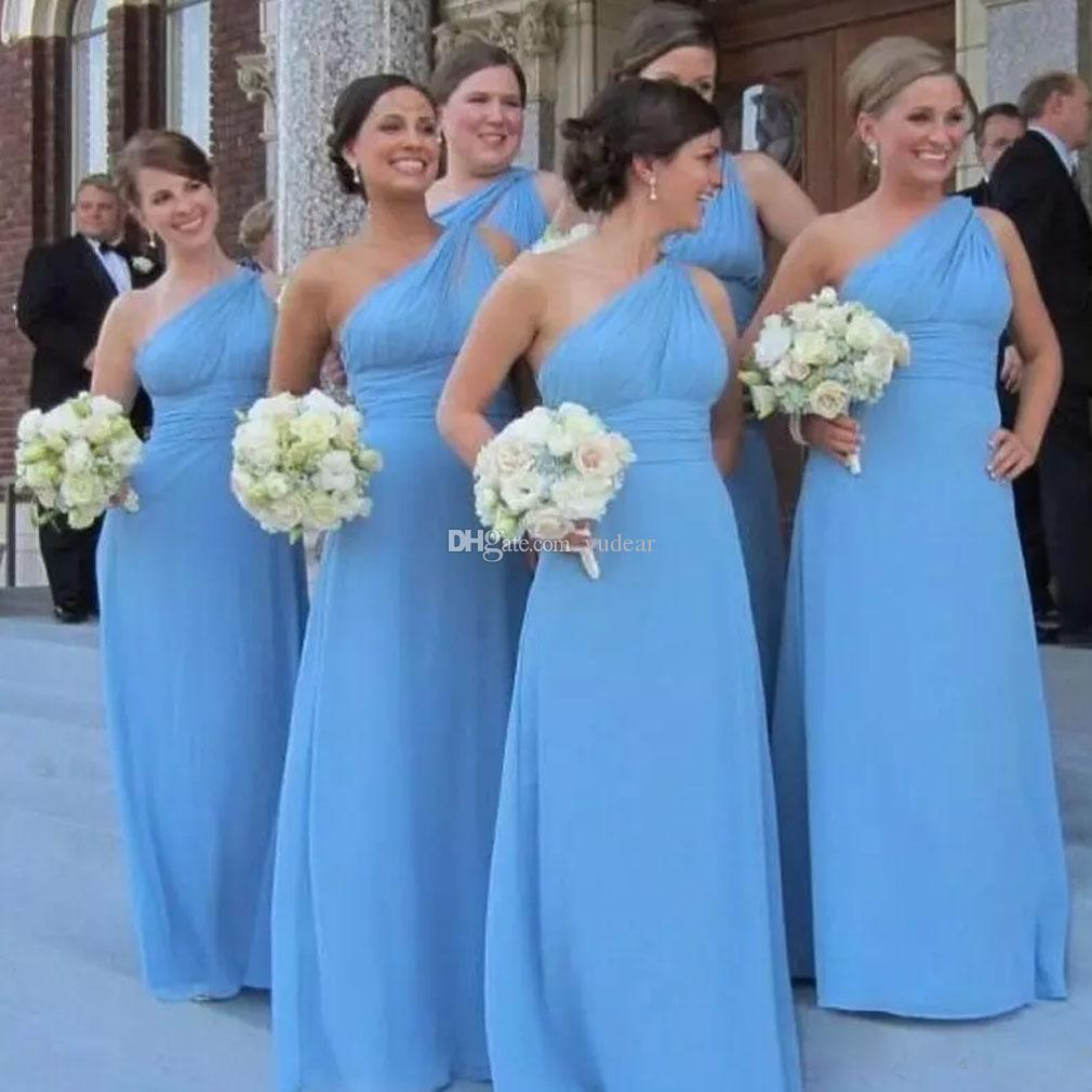 2019 Fast Shipping Women Bridesmaid Dresses Elegant One Shoulder A-line Floor Length Evening Dresses Draped Backless Dresses for Party Cheap