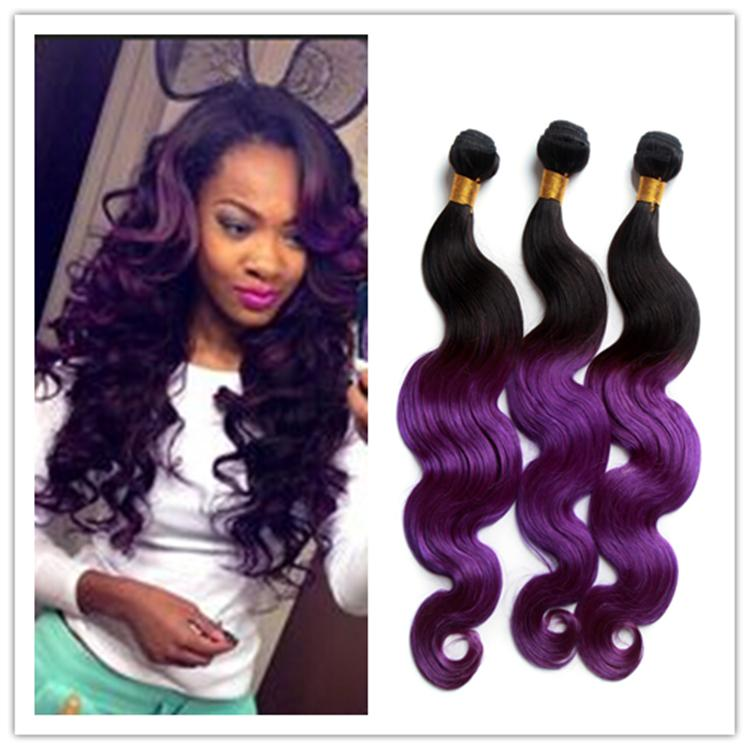 Malaysian Ombre Purple Body Wave Hair Bundles Black And Purple Ombre