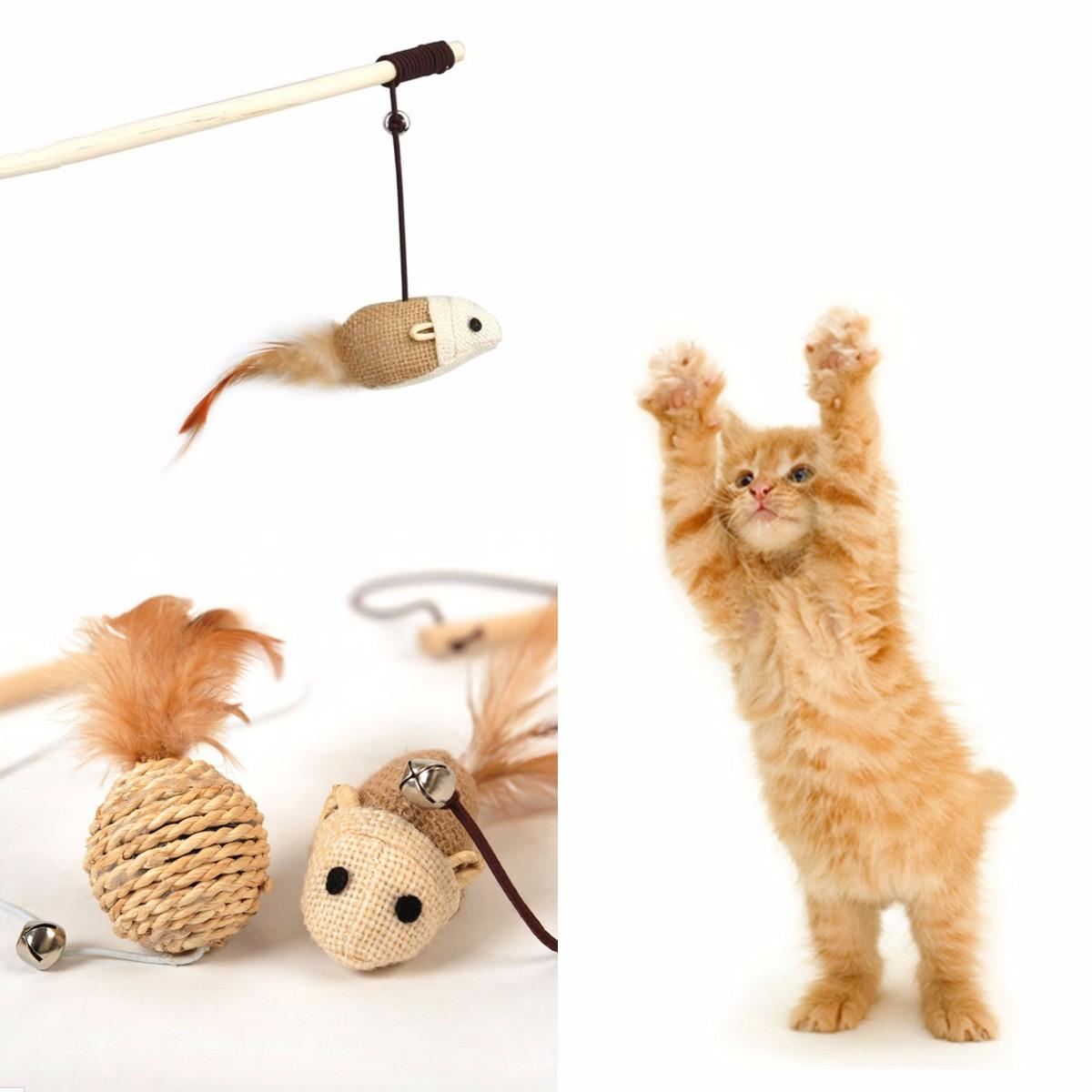 Fun Cat Toys : Novelty pet cat toys funny wood stick dangle mouse ball