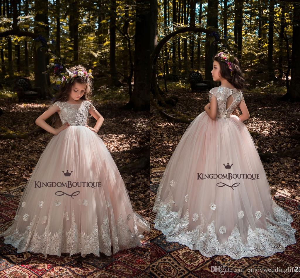 1bac86c5b0d7c Princess Light Pink Ball Gown Tulle Flower Girl Dresses 2018 Cap Sleeves  Lace Appliqued Crystals Beading Belt Girls Pageant Gowns