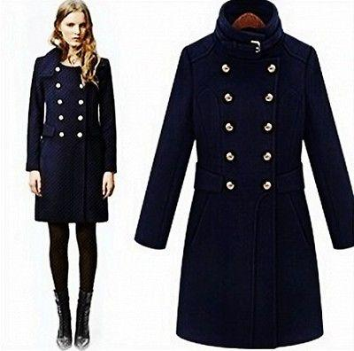2018 British Style Womens Wool Blend Double Breasted Military Long ...