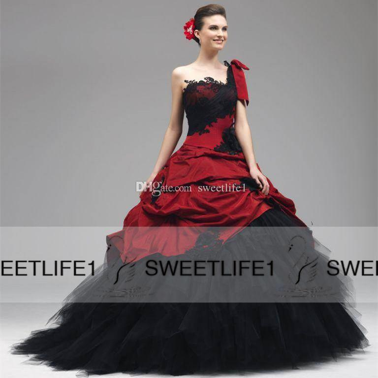 Black Red Ball Gown Gothic Wedding Dresses One Shoulder Strap Draped Skirt  Sweep Train Bridal Gowns 2015 Garden Beach Ball Gown Dresses Cotton Wedding  Dress ... 7d86df5da