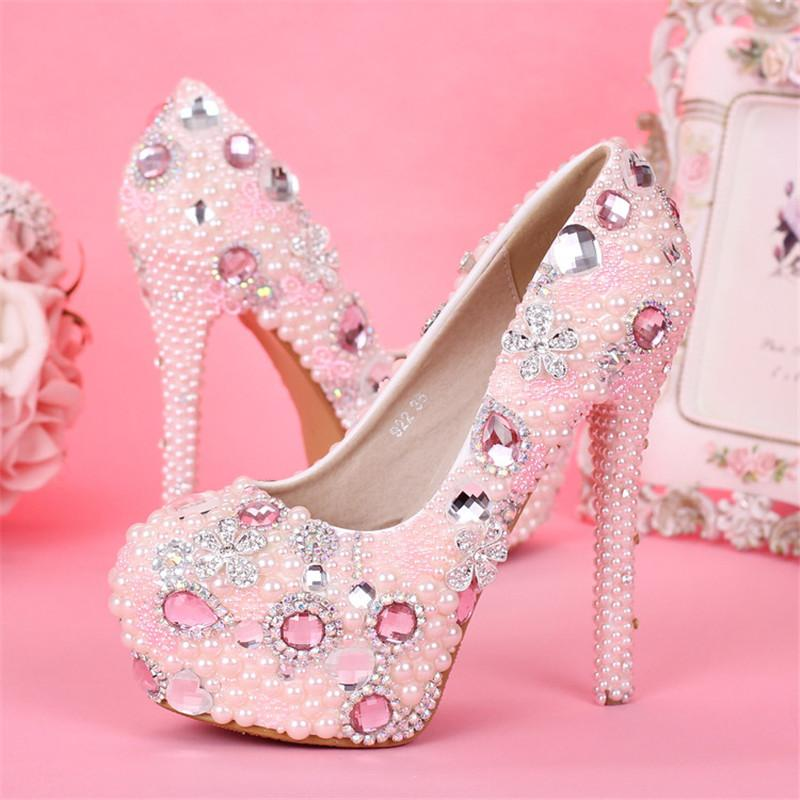 New Beautiful Wedding Shoes Round Toe Crystal Flowers High