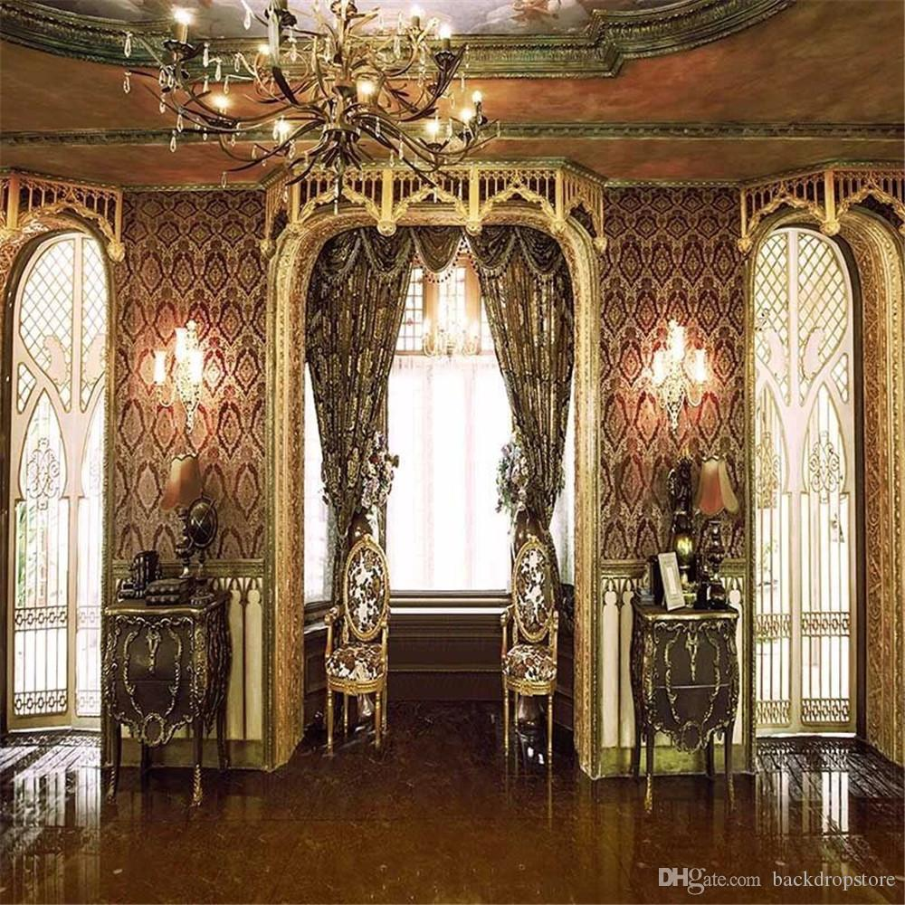 2018 Vintage Wedding Photography Backdrops Vinyl Doors Bright Window Curtain Damask Wall Chandelier Interior Palace Photo Studio Background From ... & 2018 Vintage Wedding Photography Backdrops Vinyl Doors Bright Window ...