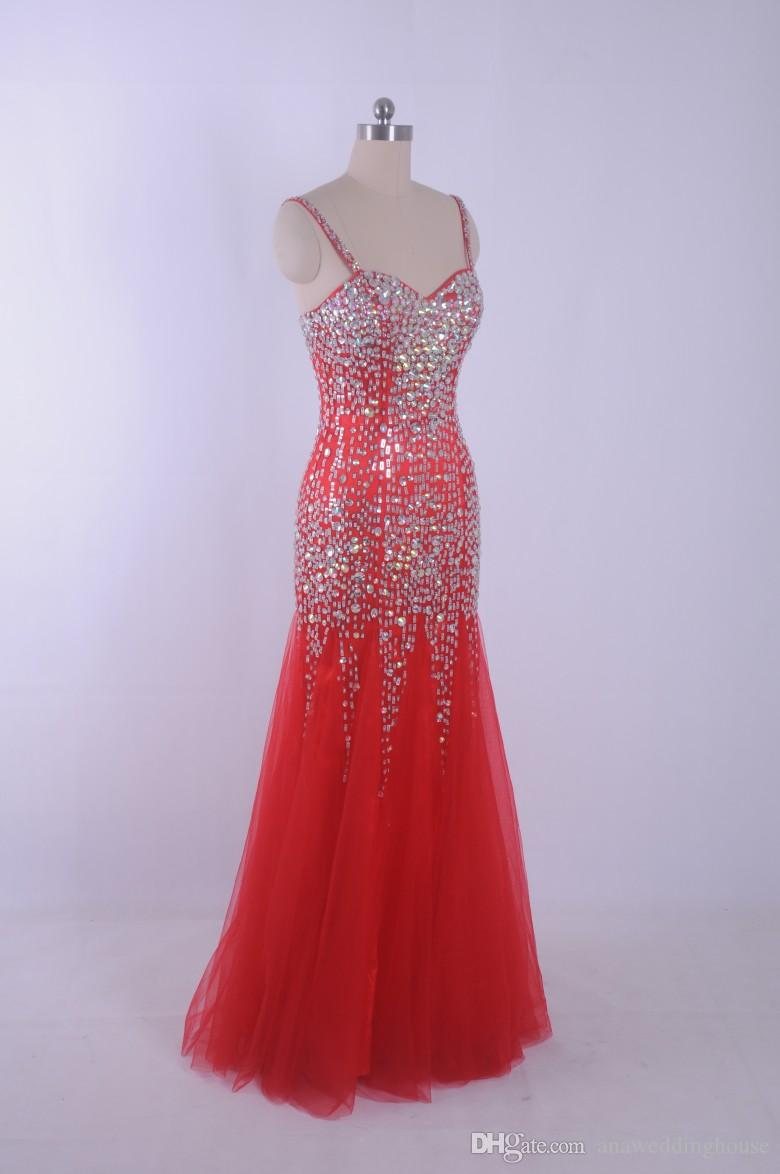 2015 Red Mermaid Luxury Prom Dresses With Crsytal Beading Sexy pageant Dress Vestidos de Festa Real Picture 100% Sheer Tulle Party Dress