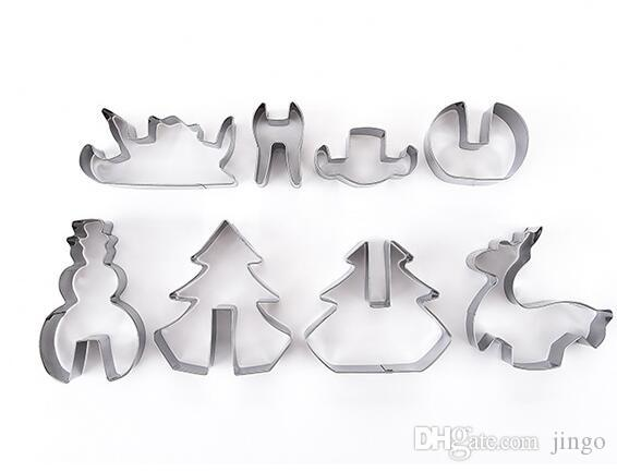 DIY 3D Stainless Steel Christmas Cookie Pastry Cutters Metal Cookie Mold Fondant Cutter Baking Tool Bakeware Mould