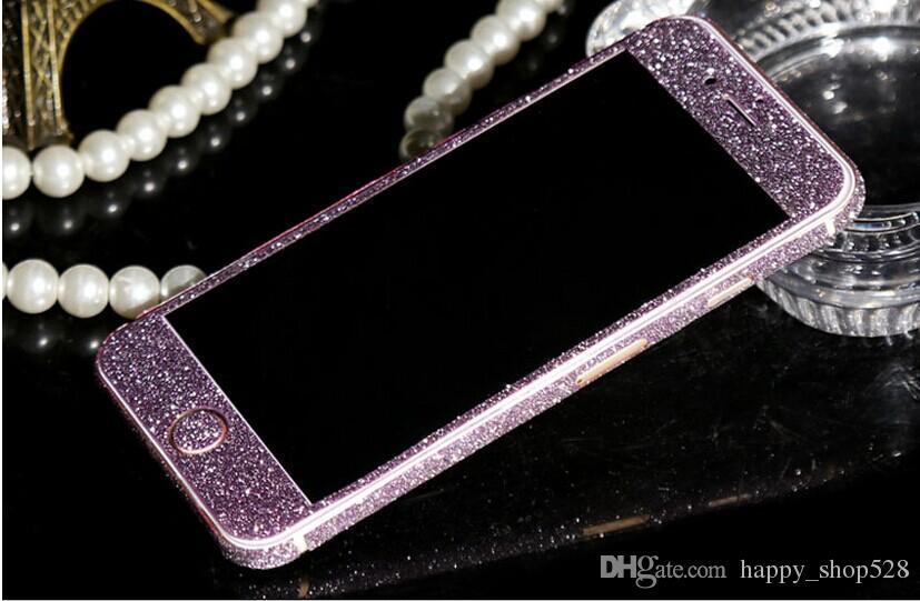 Luxo full body bling diamante brilhante glitter rainbow frente parte traseira da tampa da etiqueta da pele para iphone 6 6g 6 plus 4 4S 5 5G 7 7 p 5 S