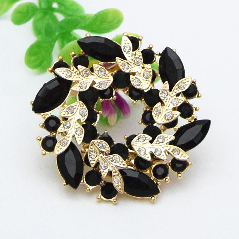 Vintage Top Quality Fashion Black Crystal Flower Wreath Brooch Gold Tone Alloy Wedding Bridal Bouquet Women Pins Cheap Price
