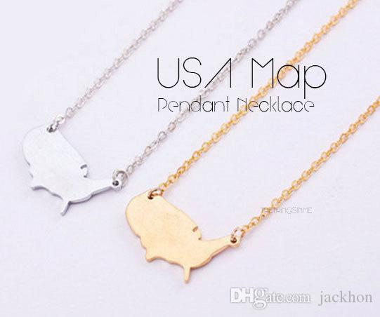 Wholesale N017 Outline United States Map Necklace Usa Silhouette Map Necklace Geometric America Country Nation Necklace For Earth Heart Pendant Statement