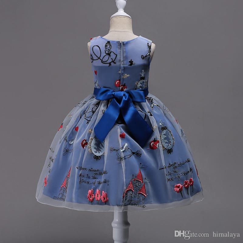 2017 niños encantadores vestidos de princesa ropa de fiesta para niños niñas ropa de dibujos animados niño vestido de bola vestido para 110-170 cm