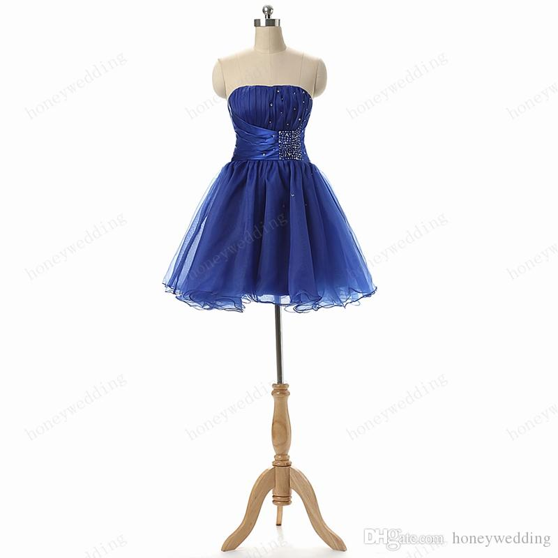 Korte afstuderen / homecoming club feestjurken 2016 strapless plooien kralen royal blue tieners formele gelegenheid jurk goedkope echte foto's