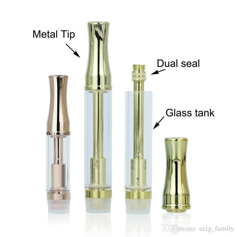 Factory Price Gold Plated 92A3 Cartridge Glass Tank Metal Tip Vape Cartridge Dual Coil CO2 Cartridge Disposable Vaporizer