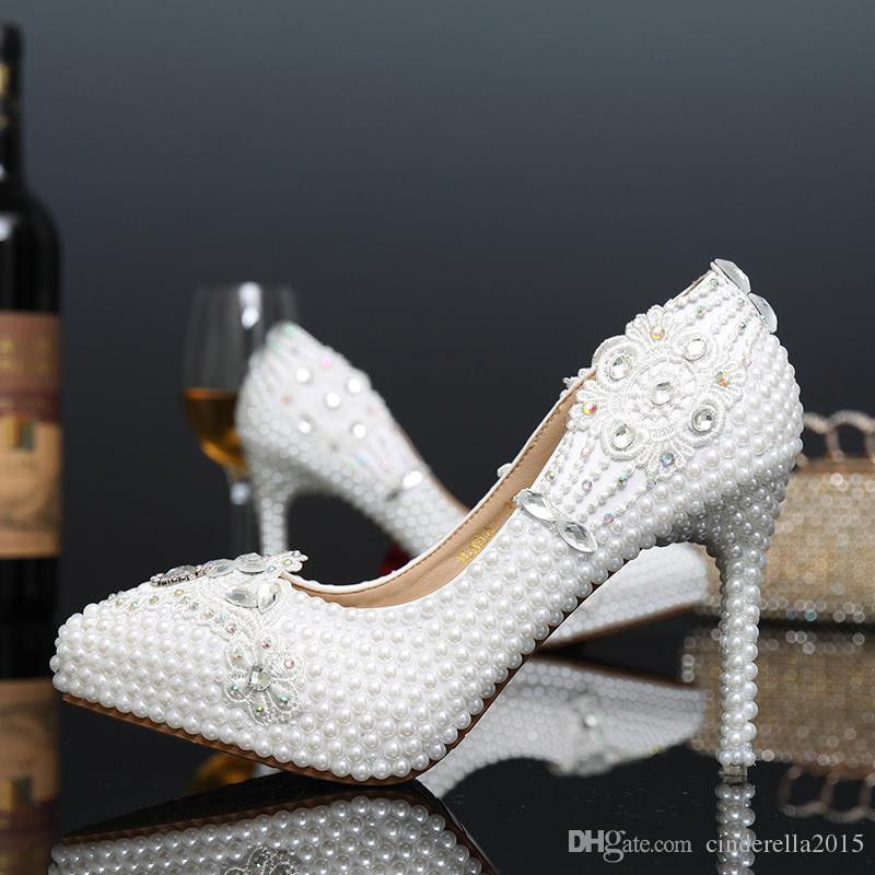 28fff2b3f8a 2015 White Pearl Bridal Dress Shoes Formal Dress High Heels Pointed ...